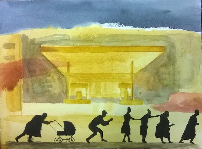 Mika Vesalahti: Kierrätystä (Kentridge - parafraasi), akvarelli, 2014, 24 x 32 cm